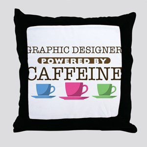 Graphic Designer Powered by Caffeine Throw Pillow