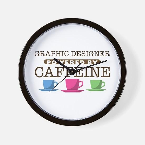 Graphic Designer Powered by Caffeine Wall Clock