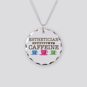 Esthetician Powered by Caffeine Necklace Circle Ch