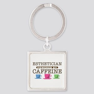 Esthetician Powered by Caffeine Square Keychain