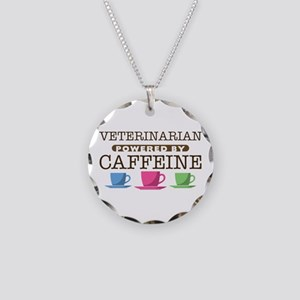 Veterinarian Powered by Caffeine Necklace Circle C