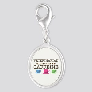 Veterinarian Powered by Caffeine Silver Oval Charm