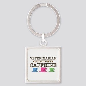 Veterinarian Powered by Caffeine Square Keychain