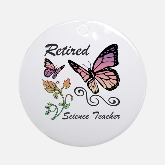 Retired Science Teacher Round Ornament