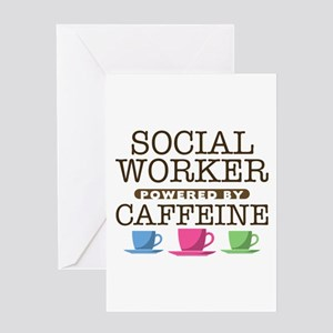 Social Worker Powered by Caffeine Greeting Card