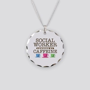 Social Worker Powered by Caffeine Necklace Circle