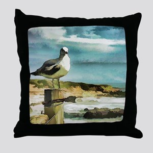 Seagull Sentry Throw Pillow