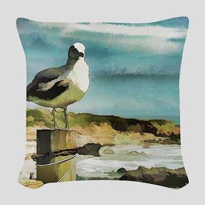 Seagull Sentry Woven Throw Pillow