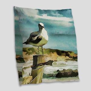 Seagull Sentry Burlap Throw Pillow