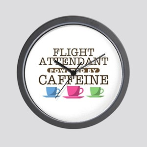 Flight Attendant Powered by Caffeine Wall Clock