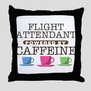 Flight Attendant Powered by Caffeine Throw Pillow