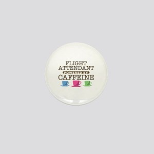 Flight Attendant Powered by Caffeine Mini Button