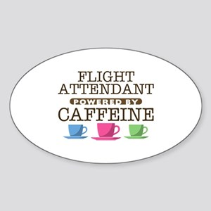 Flight Attendant Powered by Caffeine Oval Sticker