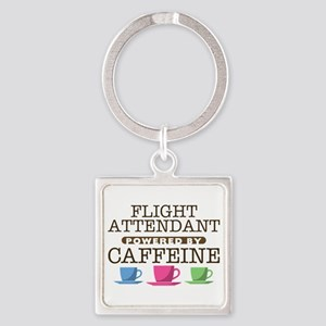Flight Attendant Powered by Caffeine Square Keycha