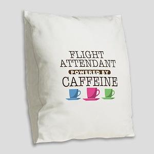 Flight Attendant Powered by Caffeine Burlap Throw