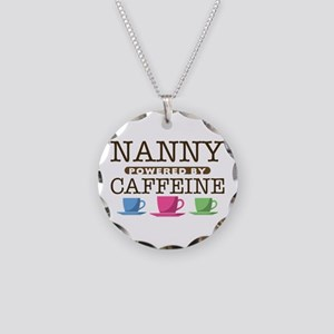 Nanny Powered by Caffeine Necklace Circle Charm