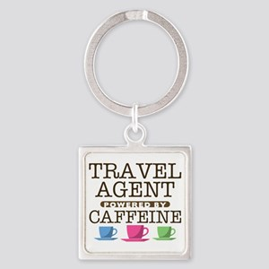 Travel Agent Powered by Caffeine Square Keychain