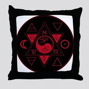 New Hermetics Red on Black Throw Pillow