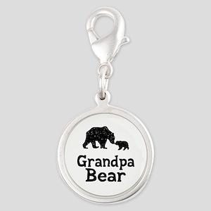 Grandpa Bear Silver Round Charm