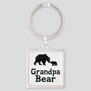 Grandpa Bear Square Keychain