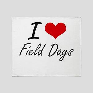 I love Field Days Throw Blanket