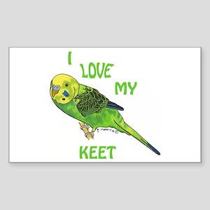 Green Keet Rectangle Sticker