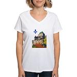 Frontenac Castle with Lys Flo Women's V-Neck T-Shi