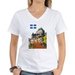 Frontenac Castle and Flag Women's V-Neck T-Shirt