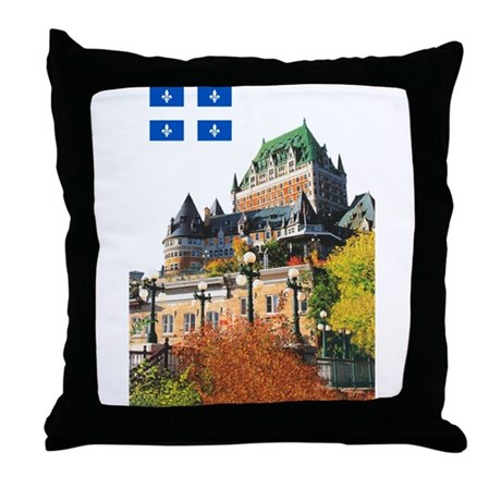Frontenac Castle and Flag Throw Pillow