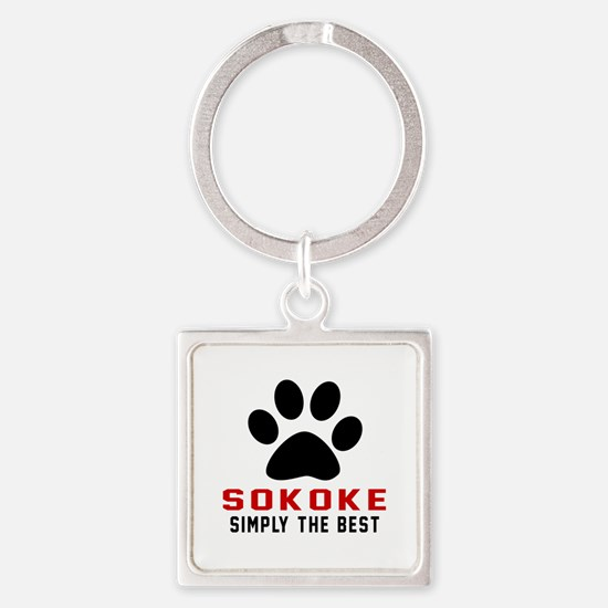 Sokoke Simply The Best Cat Designs Square Keychain