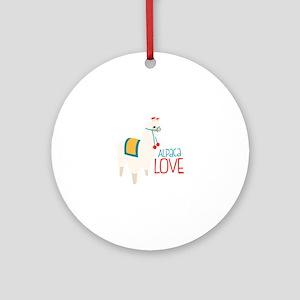 Alpaca Love Round Ornament