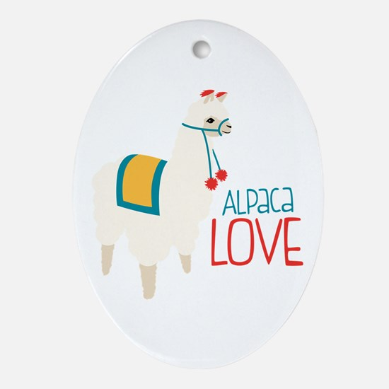 Alpaca Love Oval Ornament