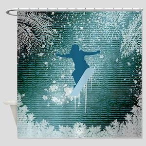 Snowboarding Shower Curtain