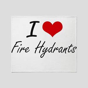 I love Fire Hydrants Throw Blanket