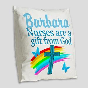 FAITH FILLED NURSE Burlap Throw Pillow