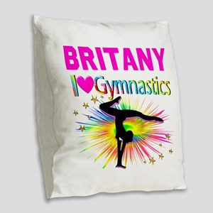 GYMNAST DREAMS Burlap Throw Pillow