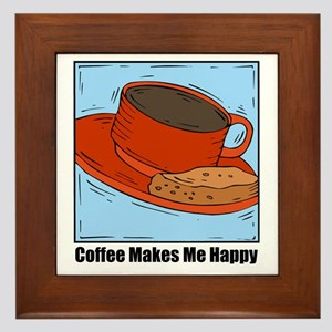 Happy Coffee Framed Tile