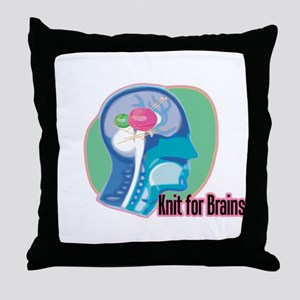 Knit for Brains Throw Pillow