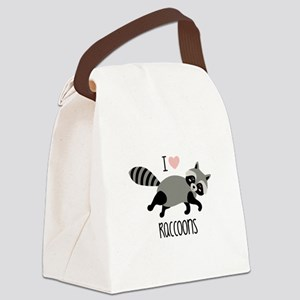 I Love Raccoons Canvas Lunch Bag