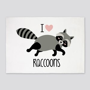 I Love Raccoons 5'x7'Area Rug