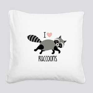 I Love Raccoons Square Canvas Pillow