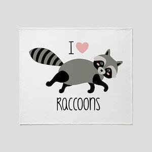 I Love Raccoons Throw Blanket
