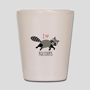 I Love Raccoons Shot Glass