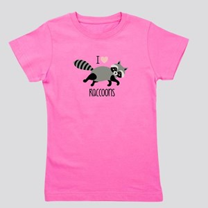 I Love Raccoons Girl's Tee