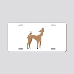 Deer & Owl Aluminum License Plate