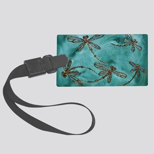 Dragonfly Flit Myrtle Green  Large Luggage Tag