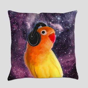 Space Bird Listening to Music Everyday Pillow