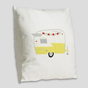 Vintage Camper Burlap Throw Pillow