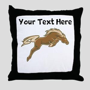 Horse Jumping Throw Pillow