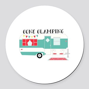 Gone Glamping Round Car Magnet